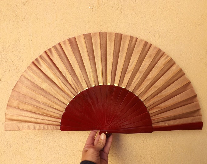 MTO XL Supersize Deep Red and Gold Wooden Hand Fan