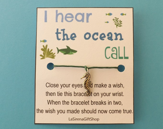 I Hear the Ocean Call Seahorse Wish Bracelet