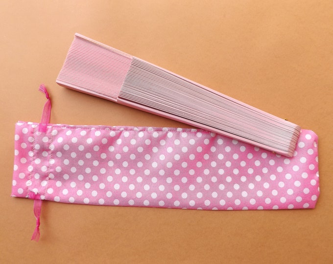 Pink Polka Dot Hand Fan Cover WITH or WITHOUT Any Color Standard Hand Fan