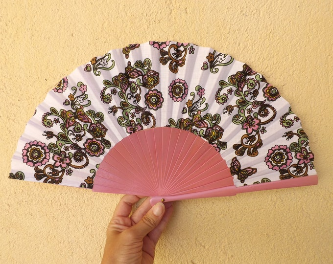 Std Pink Paisley Hand Fan ~ Wood Handheld Fan - Paint Fan - Wedding Fan -  Spanish Fan - Folding Fan - Wood Fabric ~ Ready to Ship