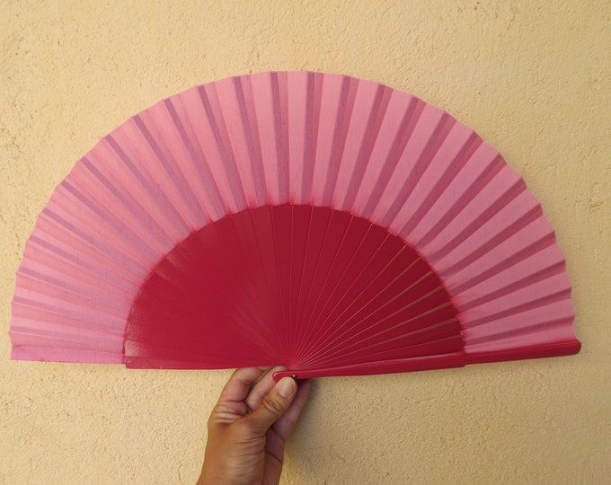 MTO L Large Hot Pink Wooden Hand Fan