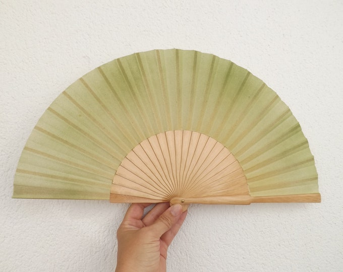MTO Std Green Colors on Natural Hand Fan