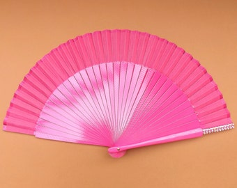 Wood Fabric ~ Made to Order MTO Small Silver and Black Wooden Hand Fan ~ Traditional Spanish Fan Folding Fan