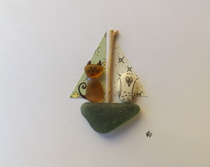 Pebble Art Card Sea Glass OWL and PUSSYCAT