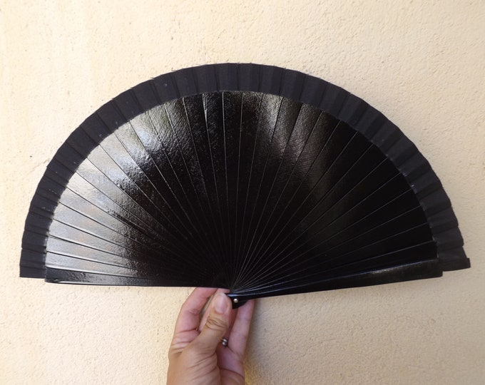 Std Black Wooden Hand Fan