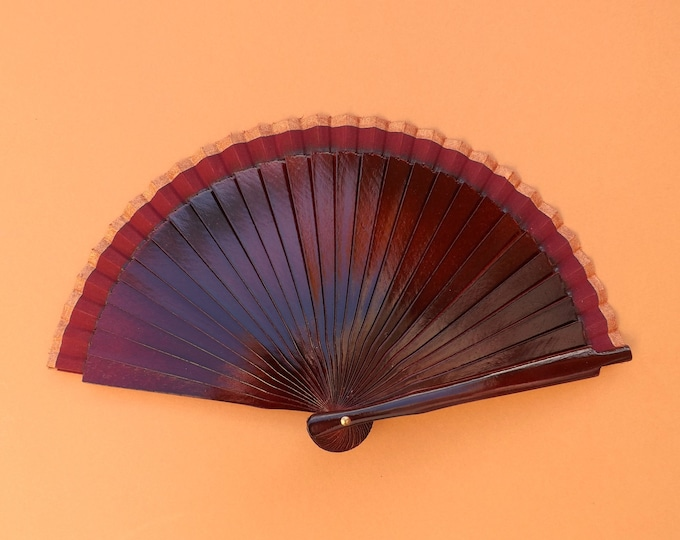 MTO Small Burgundy and Bronze Wooden Hand Fan