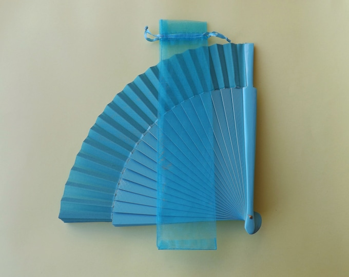 Blue Hand Fan Organza Bag(s) CHOOSE QTY