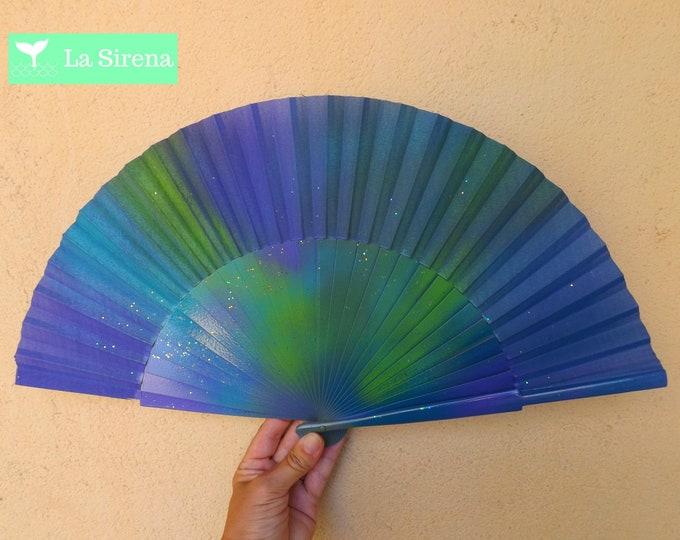Large Sea Nymph Purple Hand Fan ~ Wood Handheld Fan - Paint Fan - Wedding Fan -  Spanish Fan - Folding Fan - Wood Fabric ~ Ready to Ship