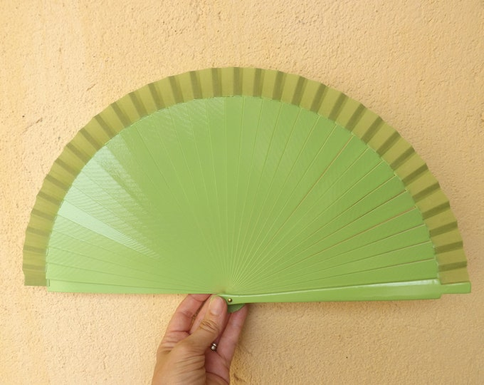 Std Pistachio Green Wooden Hand Fan