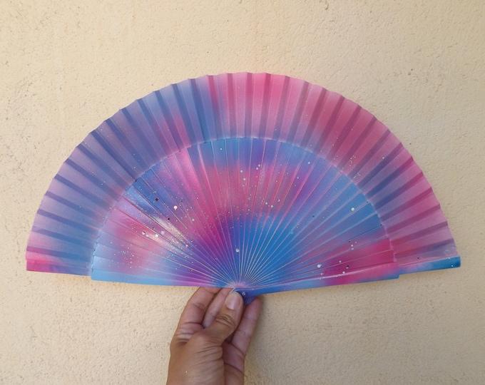 MTO Std Pink Purple Wood Hand Fan