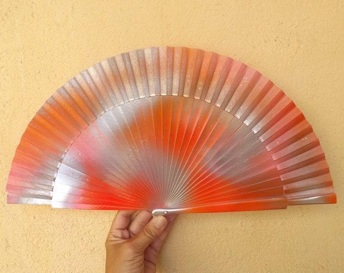 MTO Std Orange Silver Wood Hand Fan