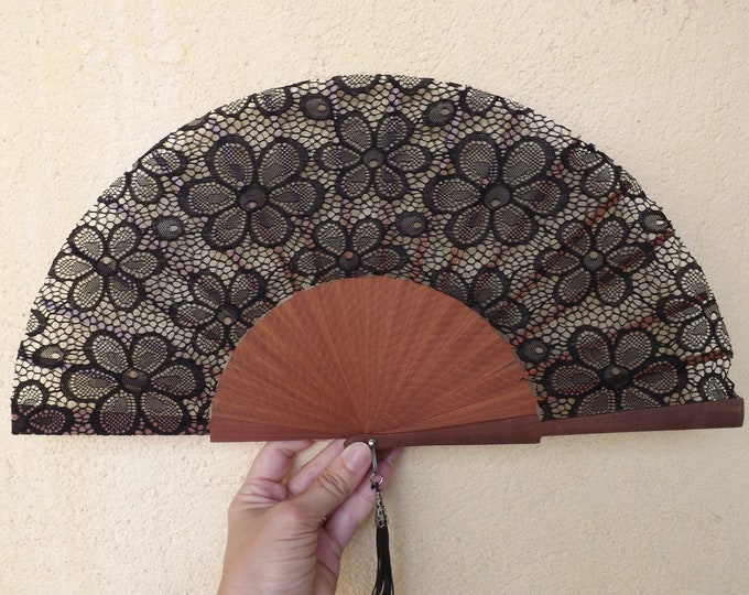 MTO Std Delicate Floral Flower Lace Black Wood Wooden Hand Fan