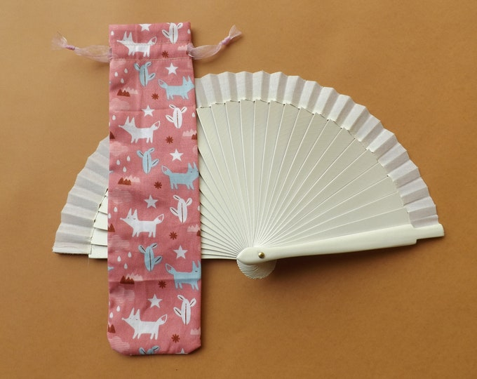 Salmon Pink Fox Cactus Design Hand Fan Cover WITH or WITHOUT Any TINY Hand Fan