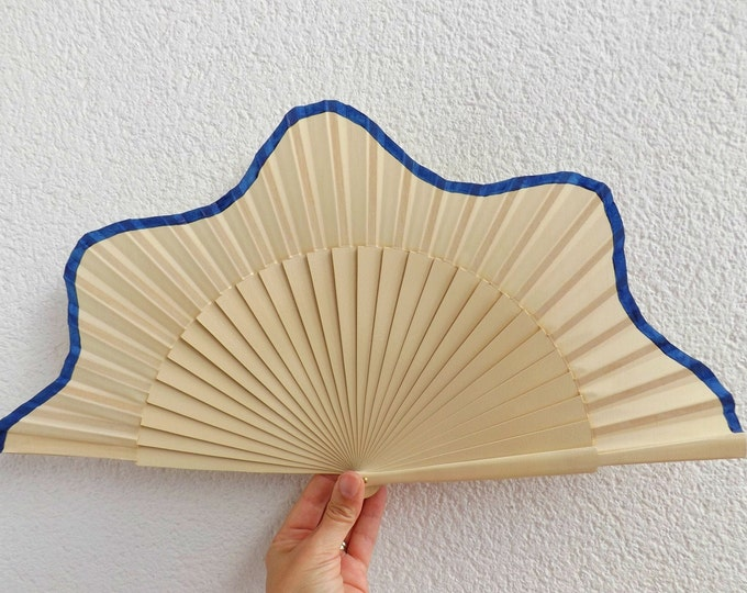 MTO Large Cream and Blue Scallop Wooden Hand Fan
