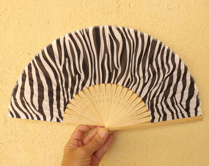 Small Budget Light Bamboo Animal Print Hand Fan ~ Wood Handheld Fan - Paint Fan - Wedding Fan -  Spanish Fan - Folding Fan - Bamboo Fabric