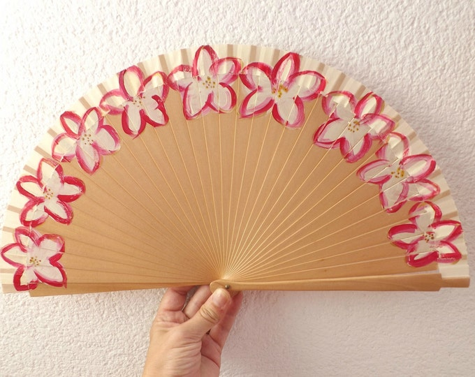 MTO Std Cherry Red Floral Wood Hand Fan