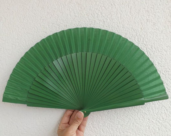 MTO Std Green Wooden Hand Fan