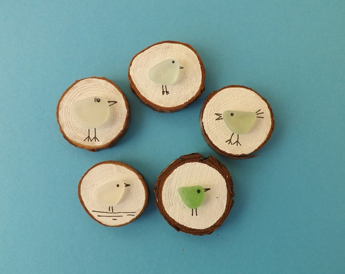 Miniature Wood Slice Magnet Sea Glass Birds