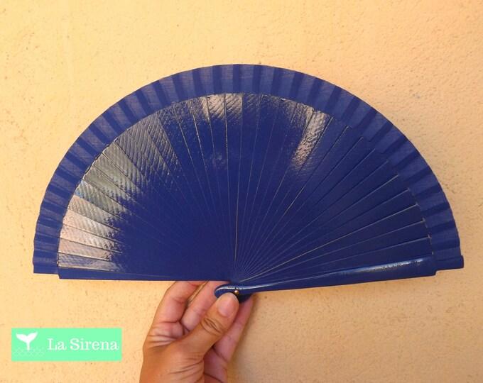 Small Electric Blue Wooden Hand Fan