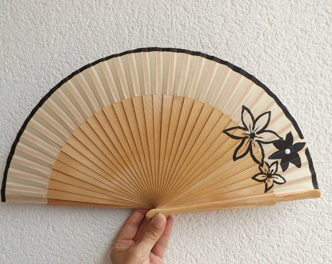 MTO Std Black Floral on Natural Wooden Hand Fan