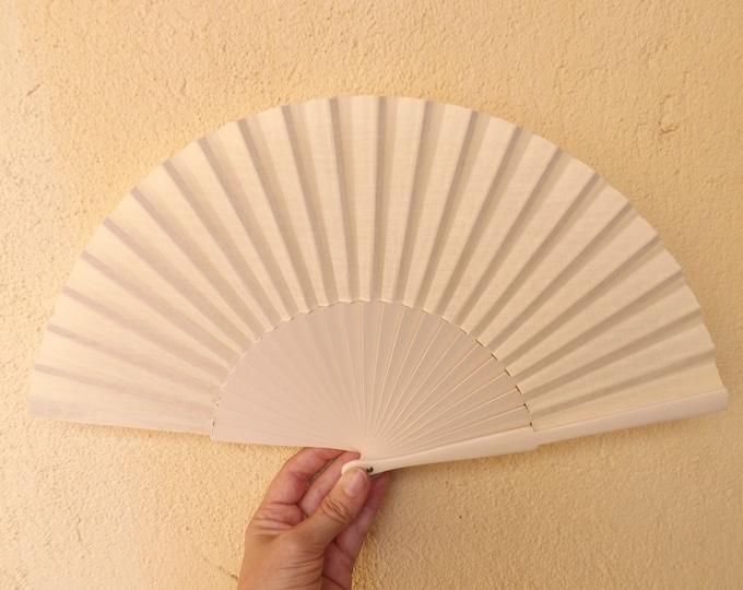 MTO Std Cream Ivory Wooden Hand Fan