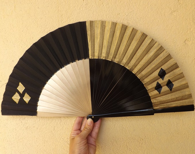 MTO Large Black Gold Harley Quinn Cosplay Wooden Hand Fan