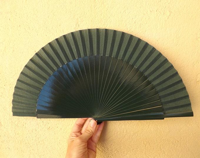 Std Forest Green Wooden Hand Fan