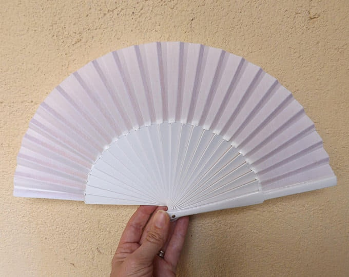 Small White Wooden Hand Fan