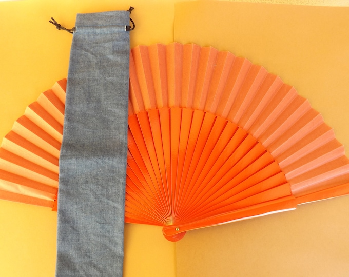 Denim Look Fabric Hand Fan Bag WITH or WITHOUT Any Color Large Hand Fan