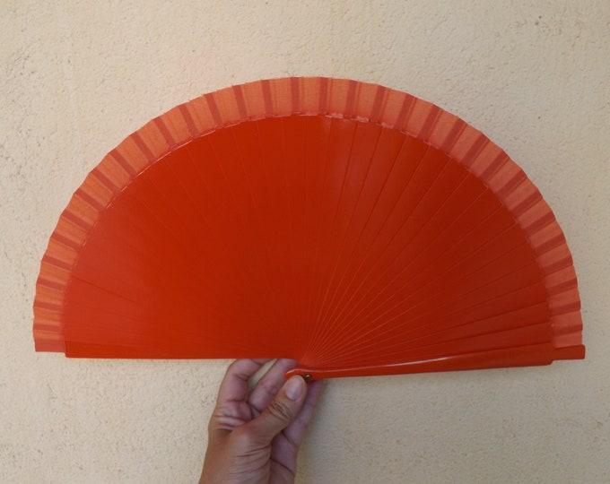 Std Orange Wooden Hand Fan