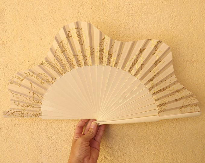 MTO L Large Cream Gold Tattoo Hand Fan