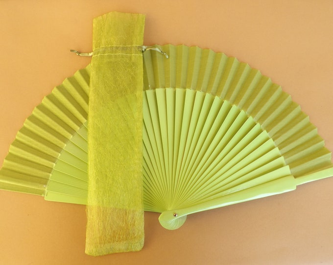Lime Deluxe Organza Hand Fan Cover WITH or WITHOUT Any Color Standard Hand Fan