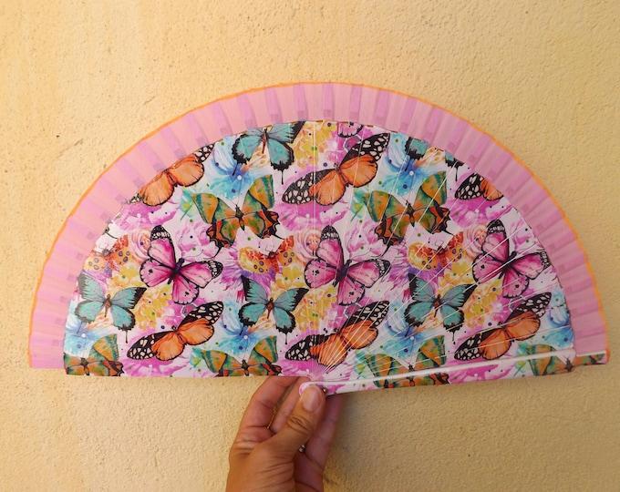 Std Butterfly Pink Hand Fan