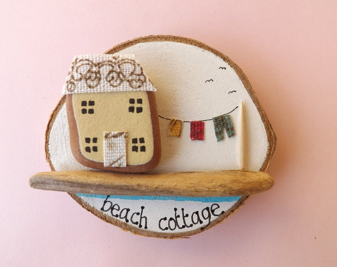 Sea Pebble Art Wood Slice Beach Cottage