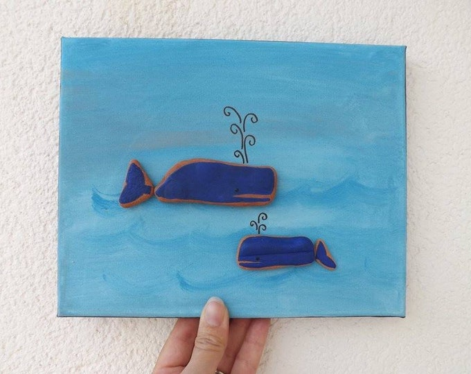 MTO WHALE or Whale Family Beach Art Canvas