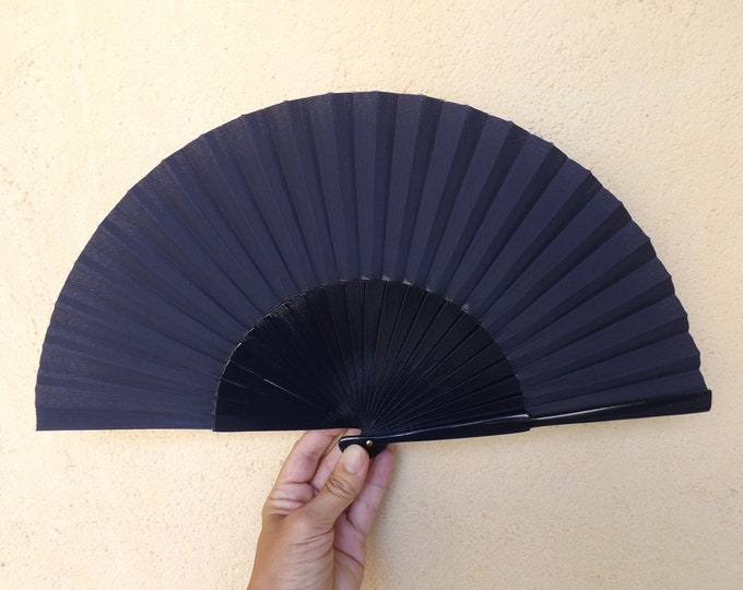 Std Navy Wooden Hand Fan