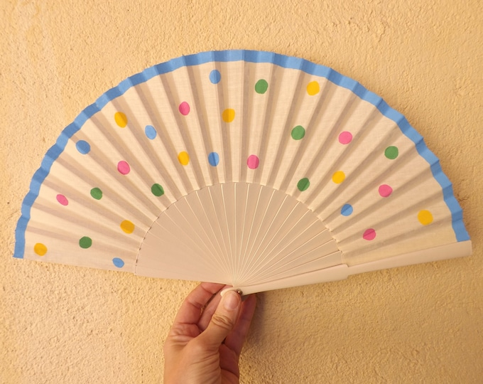 Std Pretty Polka Dot Pastel Cream Hand Fan