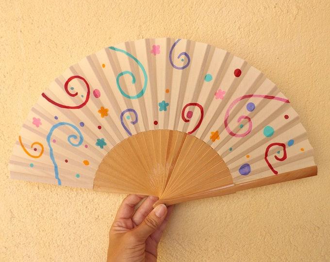 Std Party Swirl Hand Fan ~ Wood Handheld Fan - Paint Fan - Wedding Fan -  Spanish Fan - Folding Fan - Wood Fabric ~ Ready to Ship
