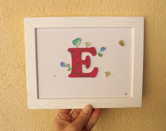 MTO Alphabet Initial Letter Sea Glass Pebble Art Picture
