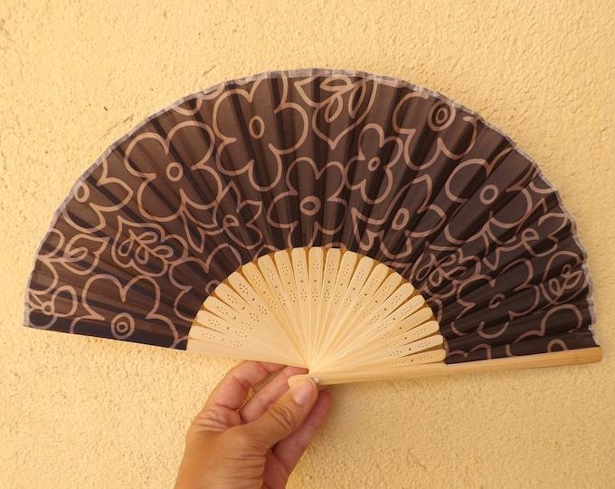 Small Budget Light Bamboo Dark Brown Floral Hand Fan ~ Wood Handheld Fan - Paint Fan - Wedding Fan -  Spanish Fan - Folding Fan