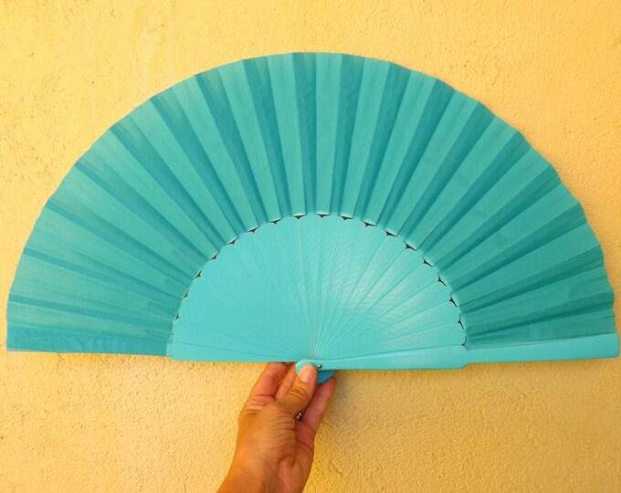 MTO XL Supersize Aqua Blue Wooden Hand Fan