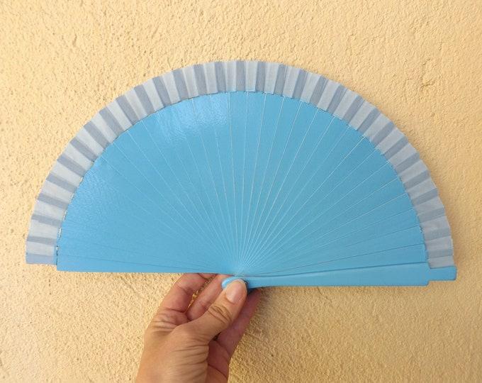 Small Blue Wooden Hand Fan