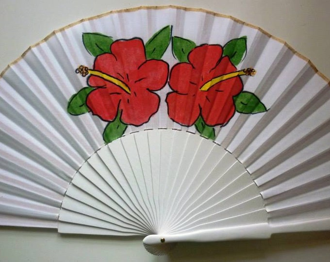 MTO Std Hibiscus Red on White Hand Fan