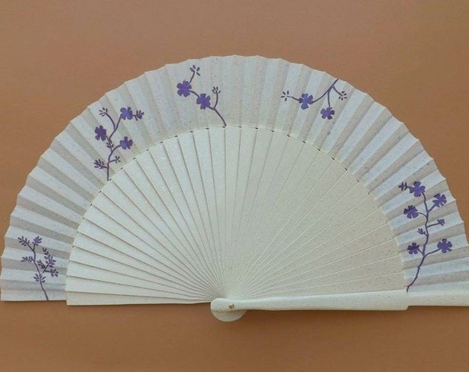 MTO Std Cream Silver Purple Flowers Hand Fan