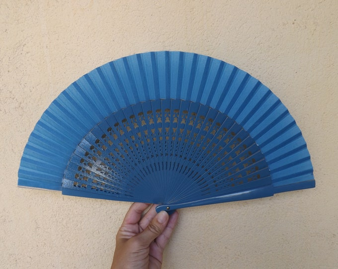 Std Blue Fret Wooden Hand Fan