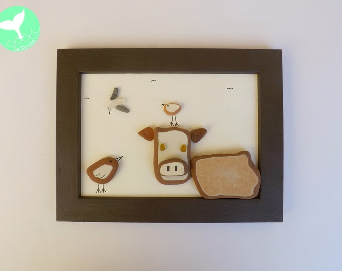 Birdies and Bovine Framed Pebble Art Picture
