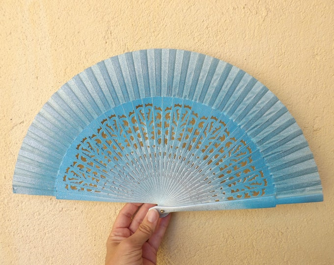 Std Blue Silver Glitter Fret Hand Fan