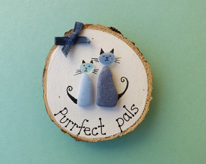 MTO Purrfect Pals Two Cats Sea Glass Wood Slice