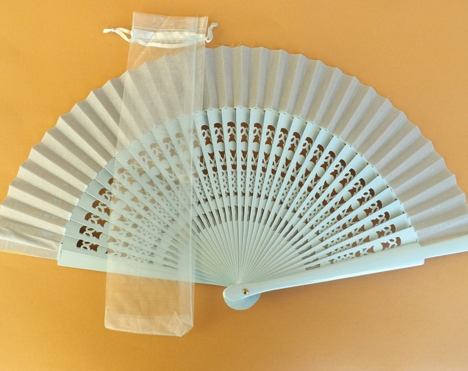 1 - 20 Baby Blue Organza Hand Fan Cover WITH or WITHOUT Any Color Standard Hand Fan