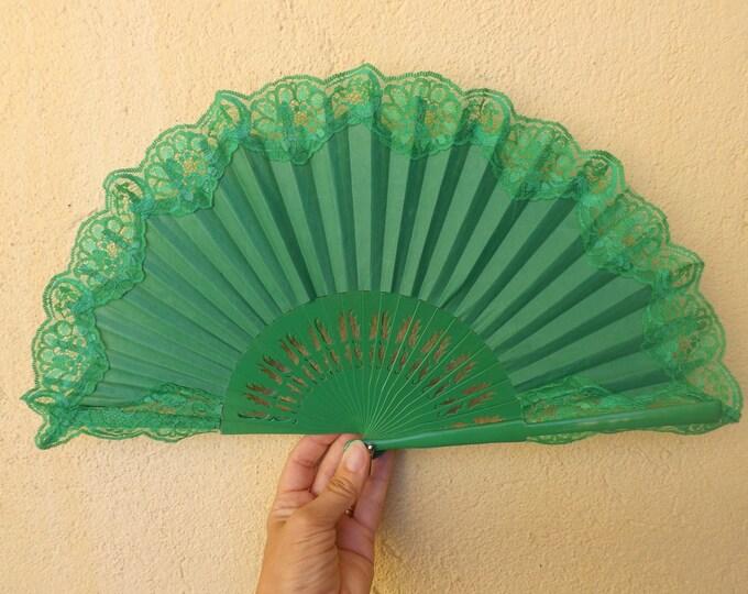 Std Bright Green Lace Bridal Hand Fan